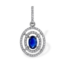 Cosmos-Inspired Sapphire and Diamond Pendant. 585 (14kt) White Gold
