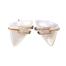 Mother-Of-Pearl & CZ Trigonal Earrings