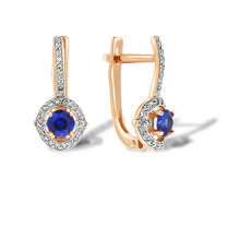 Sapphire with Diamond Halo Earrings. 585 (14K) Rose Gold