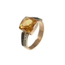 Citrine Ring With Black And White CZ