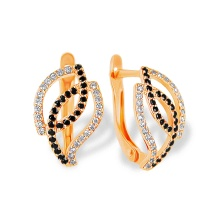 White & Black CZ Lever-back Earrings. 585 (14kt) Rose Gold