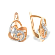 CZ 585 (14K) Rose Gold Leverback Earrings
