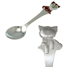 Silver Baby Dessert Size Spoon. Brown Kitten And A Wall Clock