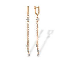 CZ Multi Chain Leverback Earrings. Hypoallergenic 585 (14K) Rose Gold