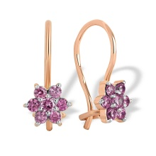 Amethyst-like CZ Snowflake Kids' Earrings. 585 (14kt) Rose Gold, Rhodium Detailing