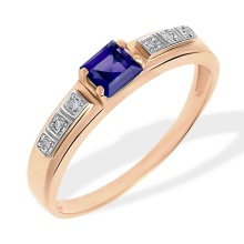 Princess Cut Sapphire and Diamond Ring. 585 (14kt) Rose Gold