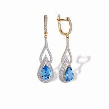 Teardrop Blue Topaz and CZ Earrings. 'Empress' Series