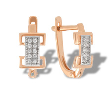 Stylized 'Belt Buckle' Gold Earrings. 585 (14kt) Rose Gold, Rhodium Detailing