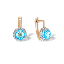 Halo Fancy Cut Blue Topaz Earrings