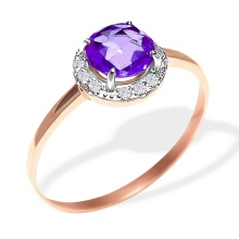 Rose-cut Amethyst with CZ Halo Ring. 585 (14kt) Rose Gold