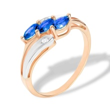 Marquise-shaped Sapphire and Diamond Ring. 585 (14K) Rose and White Gold