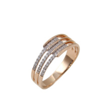 Three-row CZ Rose Gold Wedding Band