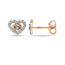 Diamond Heart Shaped Stud Earrings