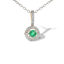 Emerald with Diamond Halo Pendant