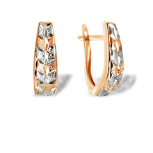 Diamond Cut Gold Leverback Earrings