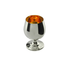 Bright Silver Cognac Snifter with Polished Gilt Inner