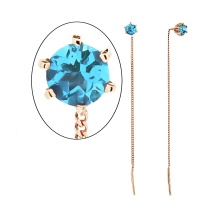 Blue Topaz Gold Chain Earrings. 585 (14K) Rose Gold