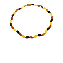 Amber Oval Bead Necklace with Spacers