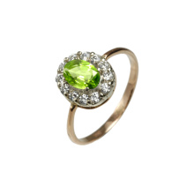 Edwardian Era Style Peridot & CZ Halo  Ring. 585 (14K) Rose and White Gold