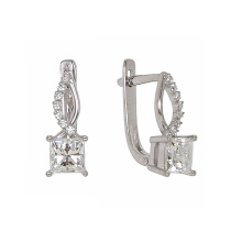 Princess Cut CZ White Gold Earrings