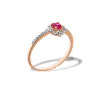Ruby and Diamond Ring. Hypoallergenic Cadmium-free 585 Rose Gold