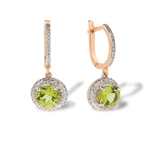 Peridot and Double Halo CZ Dangle Earrings