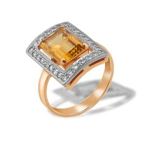 Baguette-cut Citrine and CZ Ring