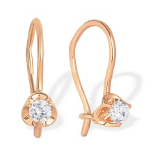 CZ Rosebud Earrings. 585 (14kt) Rose Gold
