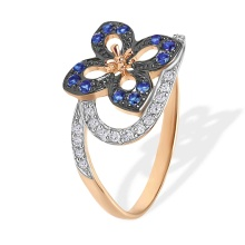 Diamond and Sapphire Flower Ring. 585 (14kt) Rose Gold, Black and White Rhodium Detailing