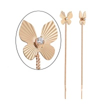 CZ Butterfly Chain Earrings. 585 (14K) Rose Gold