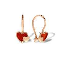 Enamel Heart Children's Earrings. Hypoallergenic 585 Rose Gold, Red Enamel