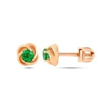 Emerald Swirl Stud Earrings. Hypoallergenic 585 Rose Gold, Screw Backs