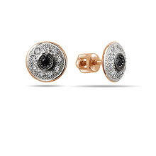 Black and White CZ Stud Earrings. Cadmium-Free 585 Rose Gold, Screw Backs