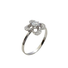 CZ Oriental-motif Ring. 585 (14K) White Gold