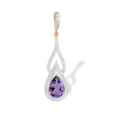 Teardrop Amethyst and CZ Pendant. 585 (14K) Rose Gold. 'Empress' Series