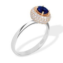 'Kashmir' Blue Sapphire and Diamond Ring. 750 White and Rose Gold, KARATOFF Series