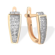 Pavé CZ Earrings. 585 (14kt) Rose Gold, Rhodium Detailing