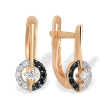 Black and White CZ Circle Children Earrings. 585 (14kt) Rose Gold