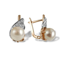 Art Deco-style Pearl Diamond Earrings