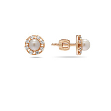 Pearl & CZ Stud Earrings