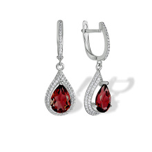 Garnet Teardrop Leverback Earrings