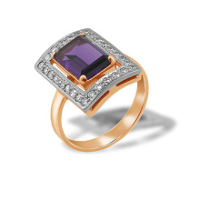 Baguette-cut Amethyst and CZ Ring
