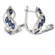 Marquise Sapphire and Diamond Earrings