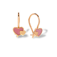 Enamel Heart Children's Earrings. Hypoallergenic 585 Rose Gold, Pink Enamel
