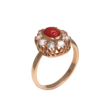 Coral & CZ Halo Ring