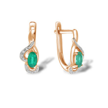 Oval Emerald & Diamond Leverback Earrings