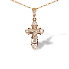 CZ Two Tone Gold Orthodox Cross