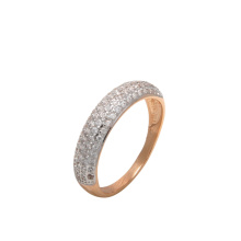 Pavé CZ Anniversary Band. 585 (14kt) Rose Gold, Rhodium Detailing