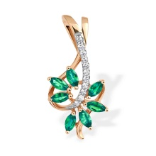 "Emerald and Diamond ""Tree Branch"" Pendant. 585 (14kt) Rose Gold"