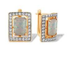Cushion-cut Faux Opal and CZ Earrings